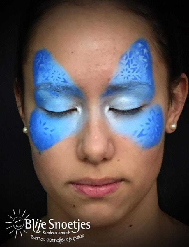 Blue Christmas Butterfly with Rudolph face painting - Step 1
