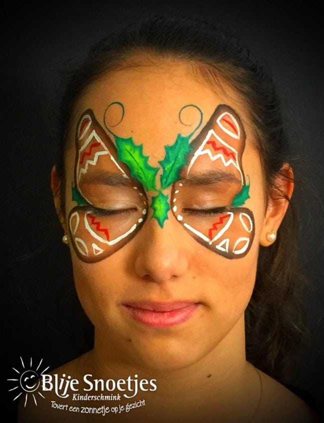 Gingerbread Butterfly face painting - Step 3