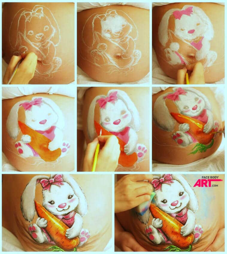 Bunny Belly Painting - Step by step tutorial