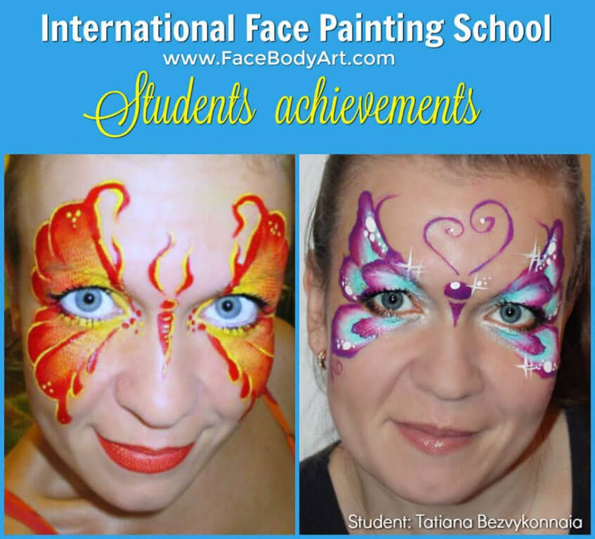 Butterflies - face painting - before and after