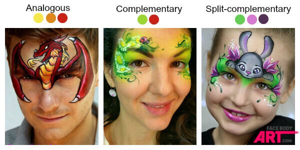 Combining colours in face painting