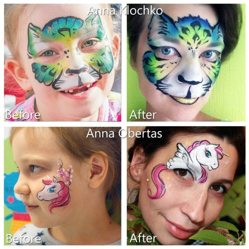 before and after face painting