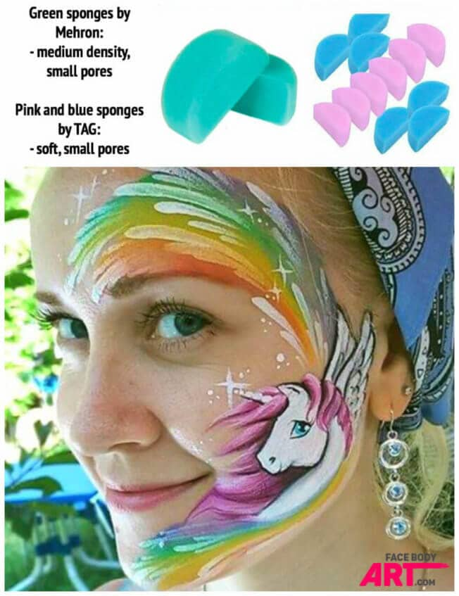 Half-circle sponges with small pores for Unicorn rainbow face painting design