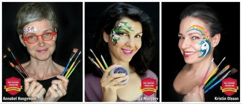 Instructors at the International Face Painting School - Olga Murasev, Kristin Olsson and Annabel Hoogeveen