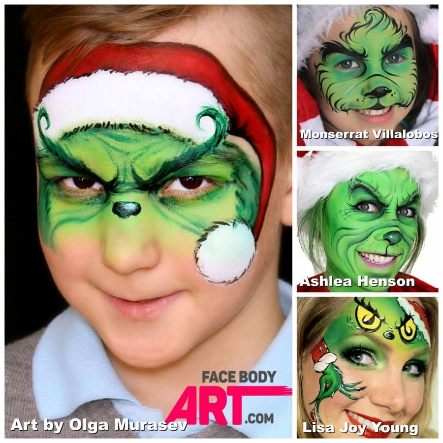 Grinch face painting design