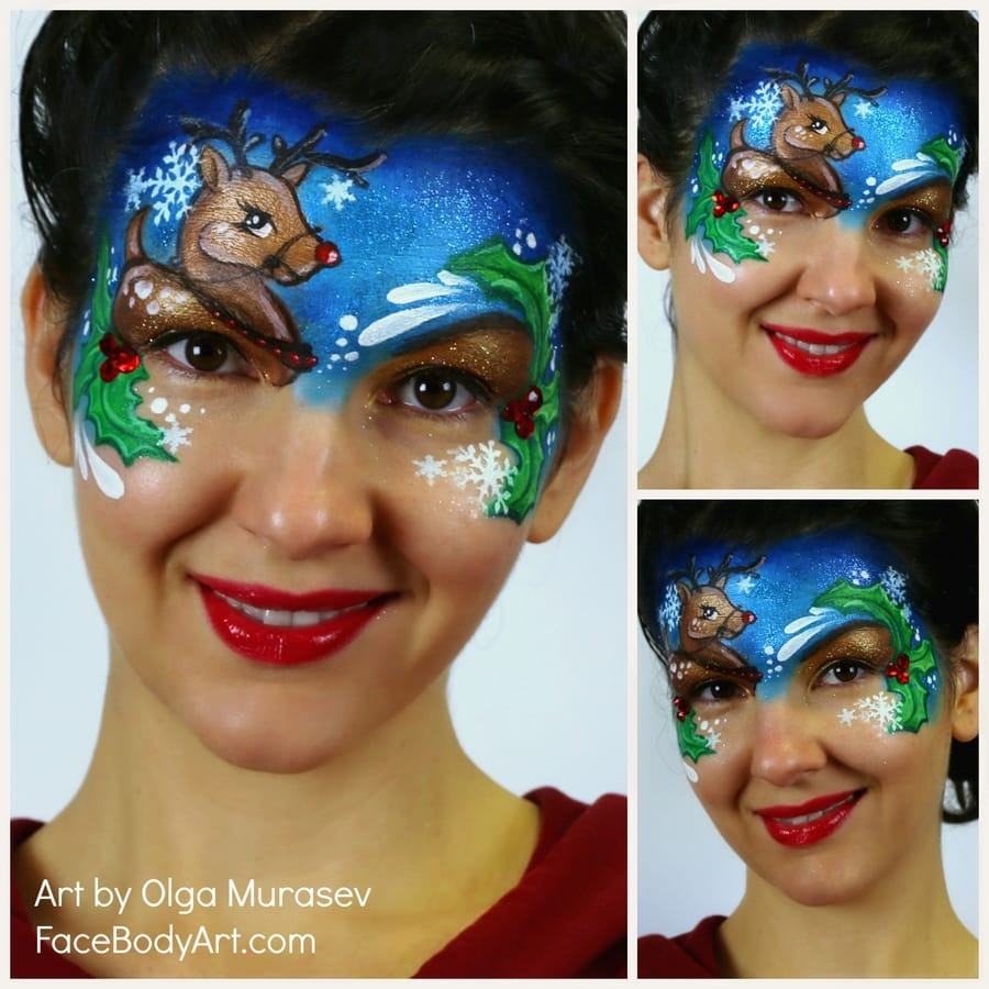 Christmas Reindeer face painting design