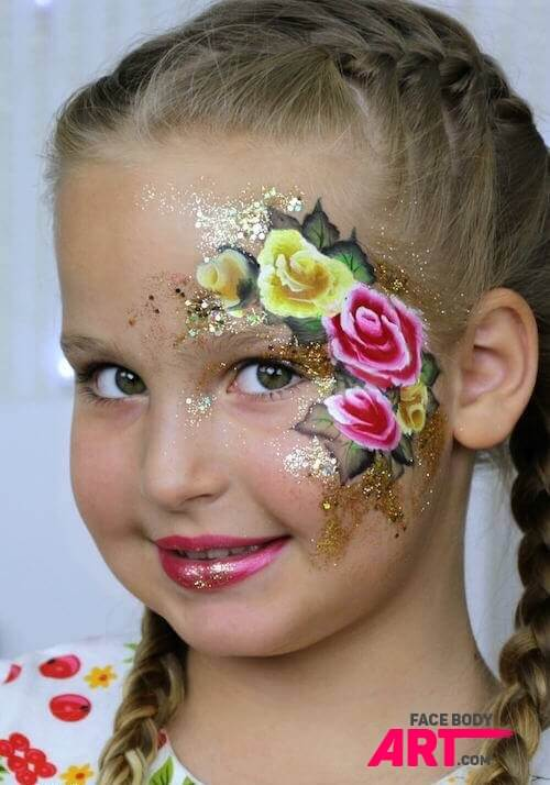 One stroke roses - face painting design