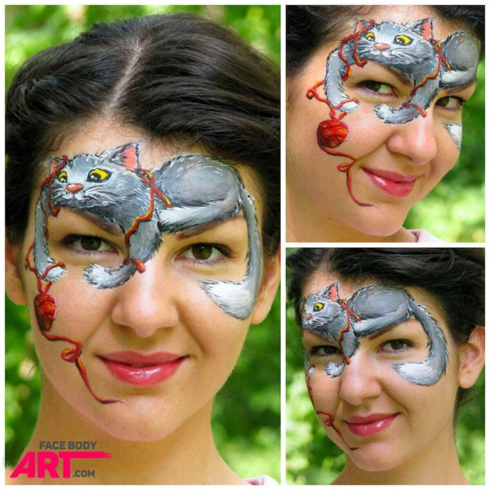 Playful Kitten Face Painting ➢ Step by Step