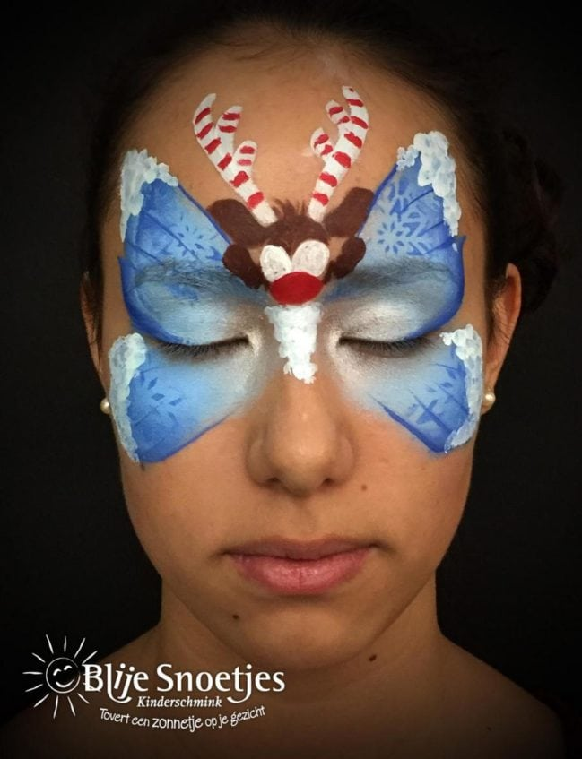 Blue Christmas Butterfly with Rudolph face painting - Step 2