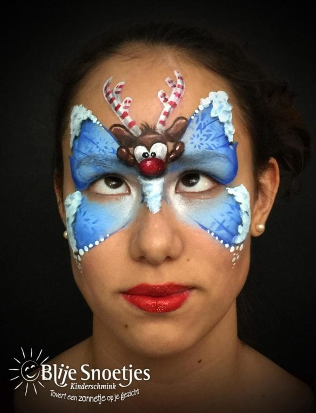 Blue Christmas Butterfly with Rudolph face painting - Step 4