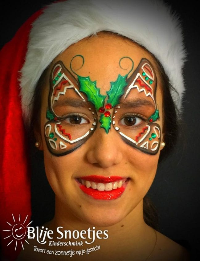 Gingerbread Butterfly face painting - Step 4