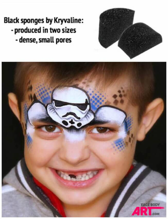 Firm sponges for Stormtrooper face painting design
