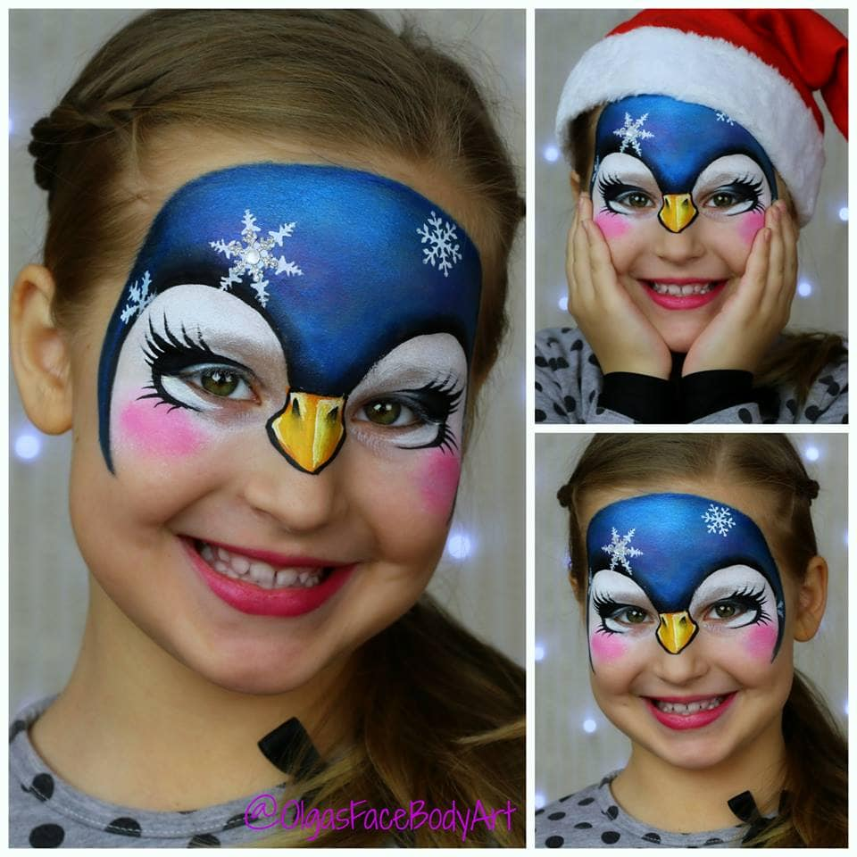 Penguin face painting design